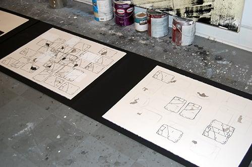 Drawings in progess in Amy Pleasant's studio, 2013.