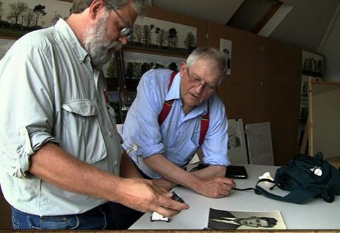 TIm Jenison (left) and David Hockney in Tim's Vermeer. Sony Pictures Classics.