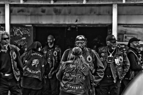Members of various Southern chapters of the Outcast Motorcycle Club.