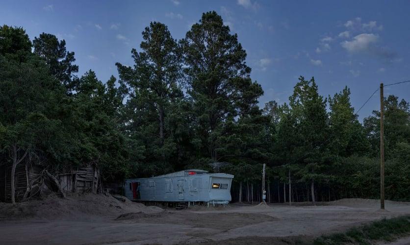 dusky image of a landscape with trailer