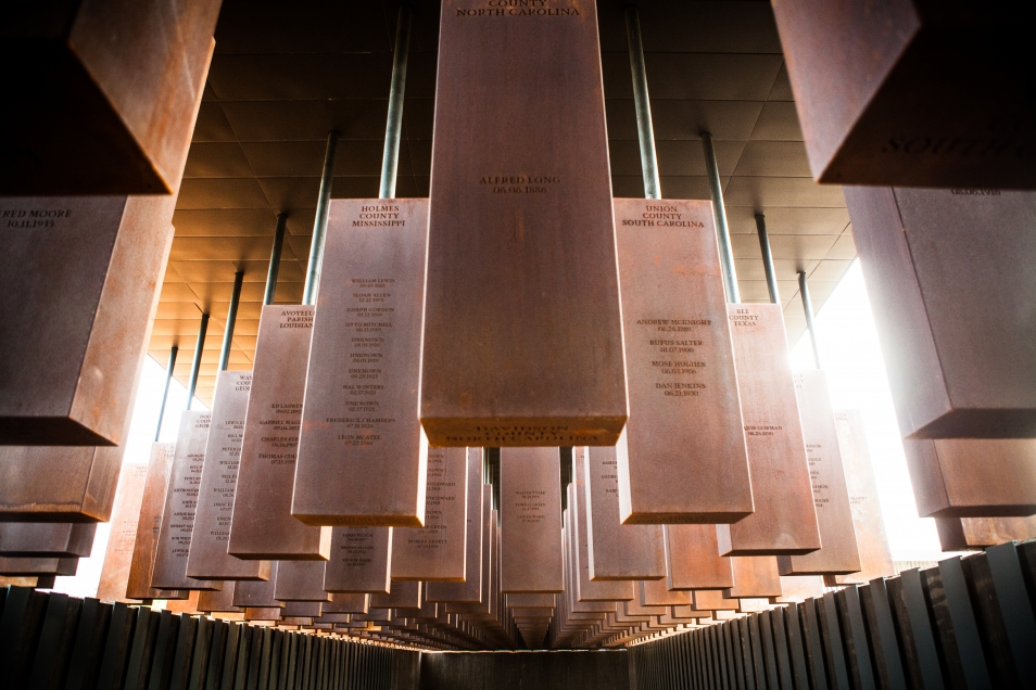 At the new National Memorial for Peace and Justice, steel monuments represent counties and states in the U.S. where lynchings took place, each inscribed with victims' names.